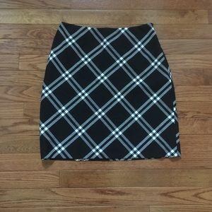 Ann Taylor Plaid Black and White Pencil Skirt